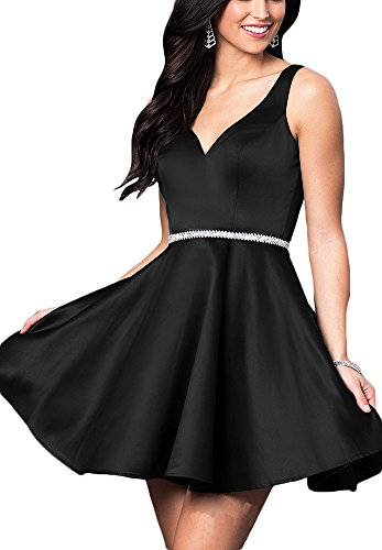 Beaded Sleeve (Andybridal Simple Deep V Neck Cap Sleeve Beaded Short Prom Homecoming Dresses)
