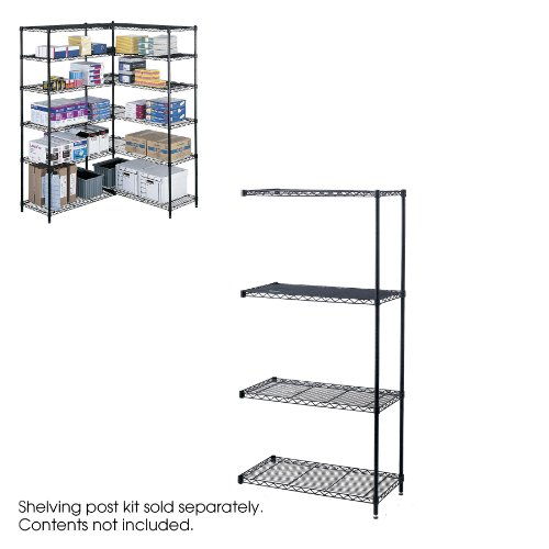 Safco Products 5286BL Industrial Wire Shelving Add-On Unit 36