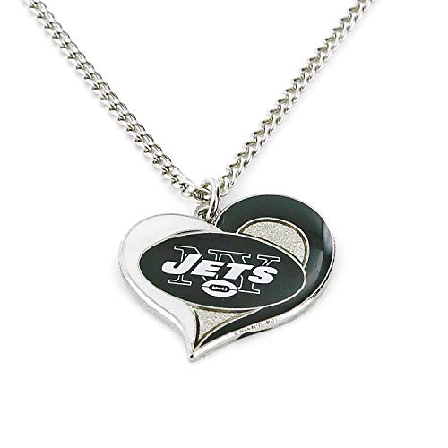 aminco NFL New York Jets Swirl Heart Necklace