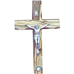 Zuluf 12cm Catholic Cross Crucifix With Holy Land Stone For Wall Gift - CRS046