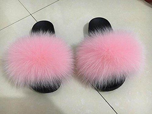 4eb6308b2719 Puffs Fur Sandals 100% Real Fox Furry Flip Flops Baby Pink Pom Poms   Amazon.ca  Handmade