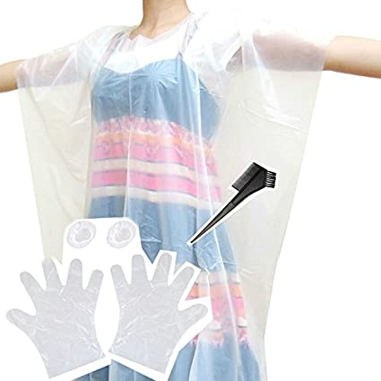 OraCorp 4 Pack Set of Disposable Hair Dye Coloring Accessories - Applicator  Comb/Brush, Gloves, Apron and Ear Covers (1)