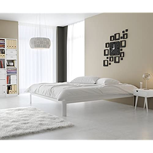 instyle furnishings lunar platform bed available in black grey and white and in twin full queen and king king white - White Platform Bed Frame