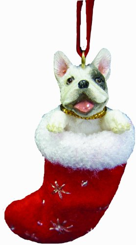French Bull Dog Christmas Stocking Ornament with Santas Little Pals Hand Painted and Stitched Detail