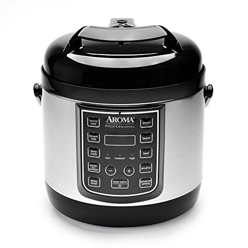 Aroma Professional 8 Cup Cooked, 4 Cup Uncooked Digital Cool Touch Turbo Rice Pressure Cooker, Silver (APC-805SB)