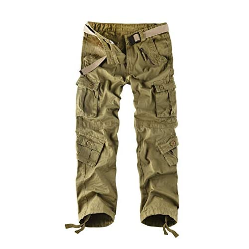 Leward Mens Wild Cotton Casual Military Army Cargo Camo Combat Work Cargo Hiking Pants with 8 Pocket