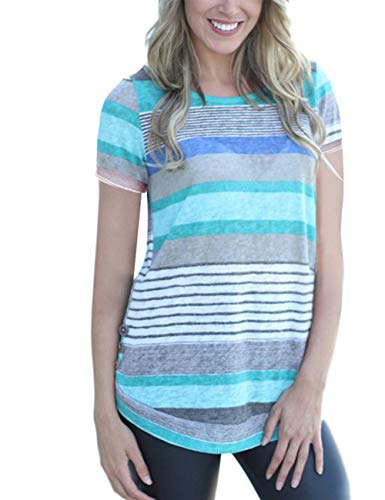 (DREAMLOVER Striped Blouse Women Short Sleeve T Shirt Summer Casual Tunic Tops)