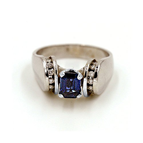 (Emerald Cut 7/8 ct. Sapphire and 1/6 ct. Diamond Fashion Ring in 14K White Gold)