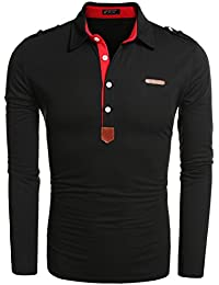 Men's Casual Solid Long Sleeve Polo Shirt