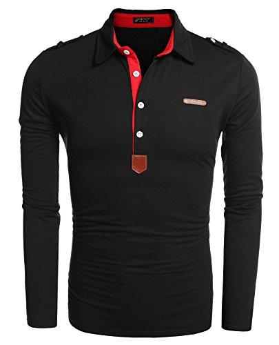 Aulei Poloshirt Herren Hemd Slim Fit Langarm Elegante Stil Männer Freizeit Haushemd
