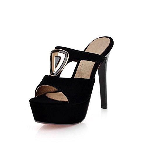 night club sexy de aguja12cmZapatos de tacón muy altos/Zapatillas de suela gruesa plataforma moda señora/ un carácter zapatillas mujeres A