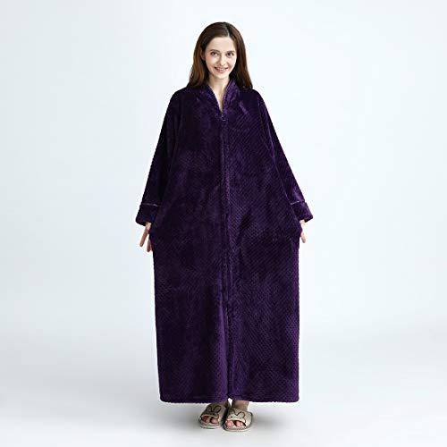 Zipper De Miaofan Wrap Fluffy Unisex Pareja Cuerpo Bata Plus Size Purple Entero Albornoz Baño Franela ZgPgr