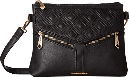 Rampage Womens Diamond Double Quilted Crossbody Black One Size