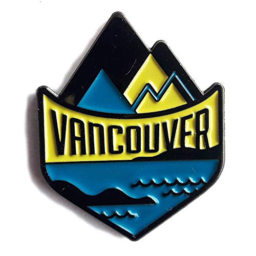 (Vancouver Enamel Pin - Great Vancouver souvenir featuring British Columbia Canada mountains and ocean)