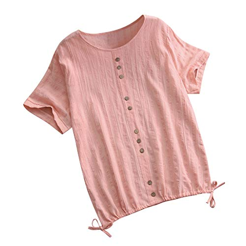 Sunhusing Womens Solid Color Round Neck Short-Sleeve T-Shirt Single-Breasted Drawstring Hem Lace-Up Casual Shirt Pink