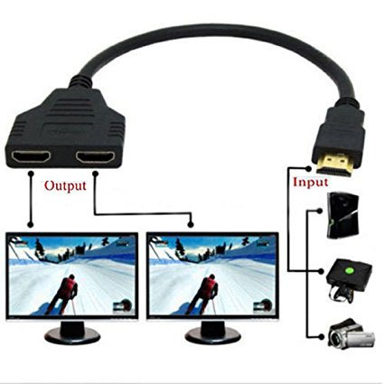 2 Hdmi Ports - Yi-Ya HDMI Cable 1080P HDMI Spliter Cable Port Male to 2 Female 1 in 2 Out Splitter Cable adaptater in HDMI HD, LED, LCD, TV 30CM