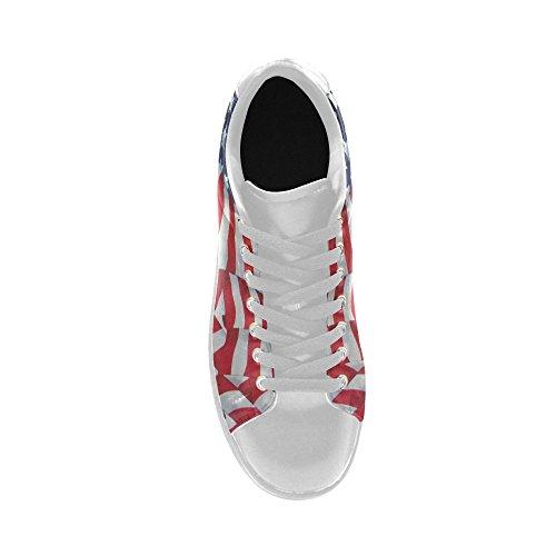 D-story Retro Amerikaanse Vlag Actie Lederen Heren Lage Top Sneakers