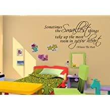 NAFORAN Sometimes the Smallest Things Take Up the Most Room in Your Heart Quote Winnie The Pooh Quotes Vinyl Wall Removable Art Decal Sticker Home Decor (Style A)
