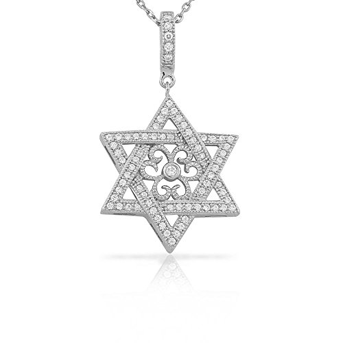 925 Sterling Silver Jewish Star of David White CZ Filigree Pendant Necklace