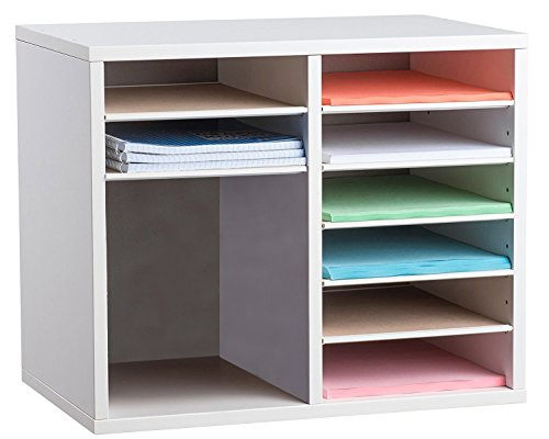 AdirOffice Wood Adjustable Literature Organizer (12 Compartment, White) (Organizer Adjustable)