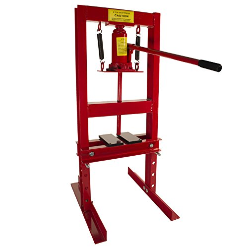 Dragway Tools 6-Ton Hydraulic Shop Floor Press with Press Plates and H Frame is Ideal for Gears and Bearings (Floor Bench)