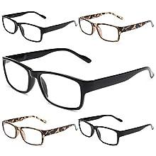 Gaoye 5-Pack Reading Glasses Blue Light Blocking,Spring Hinge Readers for Women Men Anti Glare Filter Lightweight Eyeglasses (3 Light Black + 2 Leopard, 4.0)