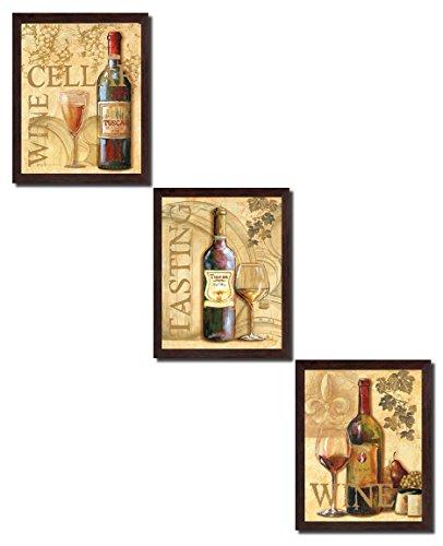 Wine Tasting Decor (3 Wine Grape Art Prints Tuscany Cellar Tasting; Kitchen Décor; Three 8x10 in Brown Framed Prints, Ready to Hang!)