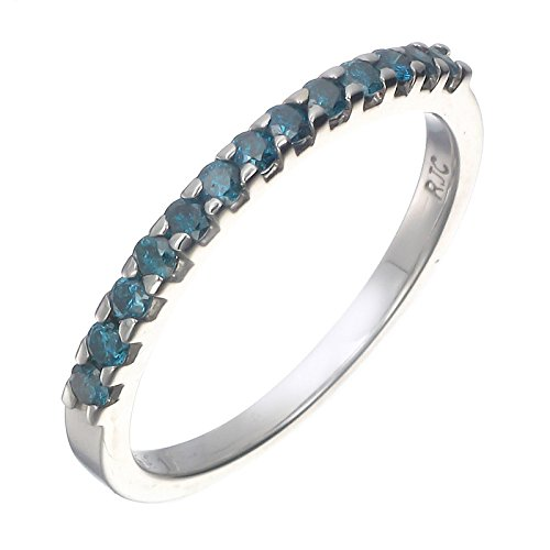 Blue Diamond Jewelry - 1/6 cttw Blue Diamond Ring .925 Sterling Silver 13 Stones In Size 6