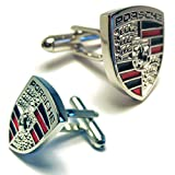 Silver Porsche Logo Automotive Car Cufflinks