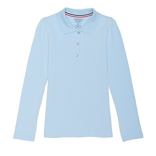 (French Toast Girls' Little Long Sleeve Stretch Pique Polo, Light Blue, XS (4/5))