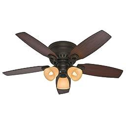 Hunter Fan Company 52086 Hatherton 46-Inch New Bronze Ceiling Fan with Five Roasted Walnut/Yellow Walnut Blades and a Light Kit
