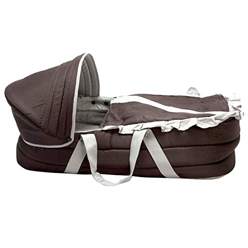 Olpchee Portable Baby Carrycot Baby Lounge Travel Bed Crib Infant Transporter Basket Brown with Double Handle for 0-6 Months Babies