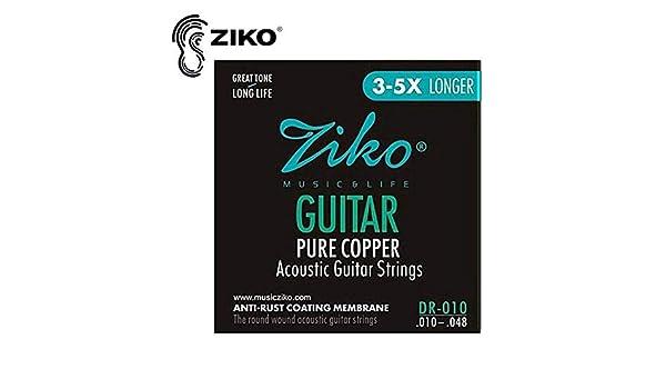 RoadRoma Ziko Dr 010-012 Cuerdas de Guitarra ac/ústica Piezas de Guitarra de Membrana Cuerdas de Cobre