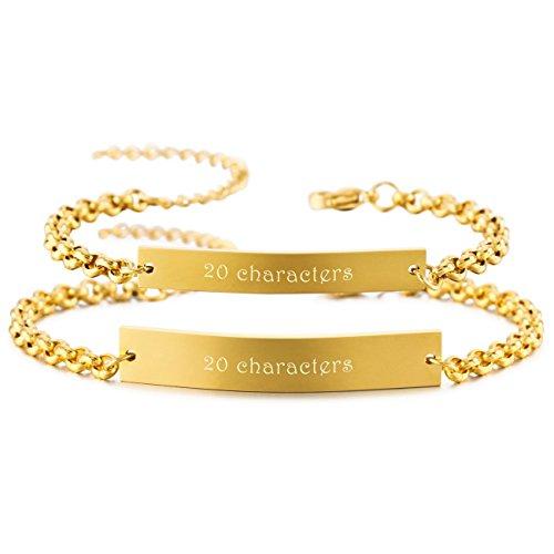 MeMeDIY 2PCS Gold Tone Stainless Steel Bracelet Wrist Link Couple Adjustable - Customized Engraving by MeMeDIY