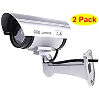 HOSL 2 Pack Outdoor Fake , Dummy Security Camera with Blinking Light (Silver)
