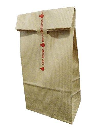 250 Bolsas kraft Navidad con cinta de cierre: Amazon.es: Hogar