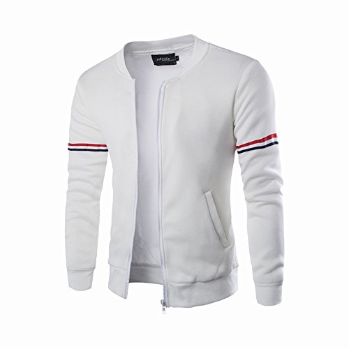 Tomatoa Men Jacket, Autumn Winter Decorative Ribbon Leisure Jacket Collar Men Casual Coat Soft Sports Outwear for Spring Autumn Summer White