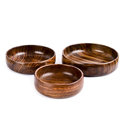 Rusticity Wooden Serving Bowls - Set of 3 | Handmade |(6 in, 7 in, 8 in) by Rusticity (Image #1)