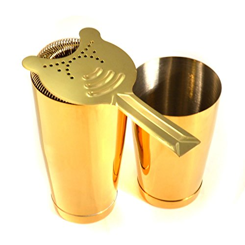 HAPPYNUTS Gold Cocktail Set, 28-Ounce and 18-Ounce Stainless Steel Boston Cocktail Shaker Tin Set with 2-Prong Strainer, Gold by HAPPYNUTS (Image #2)