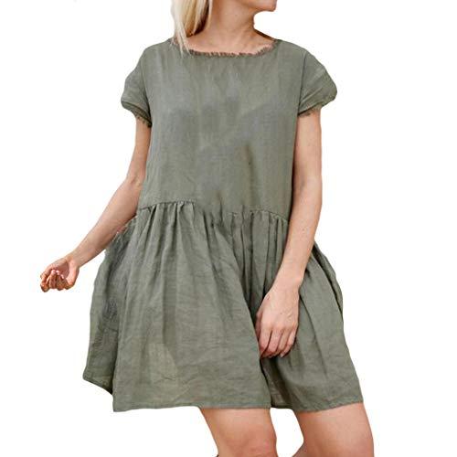 Summer Dresses for Women Causual Plain Simple T-Shirt Loose Dress Ruched Babydoll Swing A-line Mini Dress Green (Marken Günstig Online)