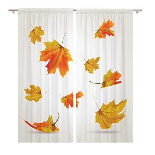 Tinmun 104 x 84 Inch Decorative Drapes Red Leaf Falling Leaves Yellow Fall Autumn Maple Realistic 2 Panels Window Curtains for Living Room Bedroom Printed