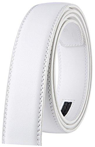 Genuine White Belt (Bulliant Genuine Leather Ratchet Belt,Buckle and Strap for Men 1 3/8,No Hole)