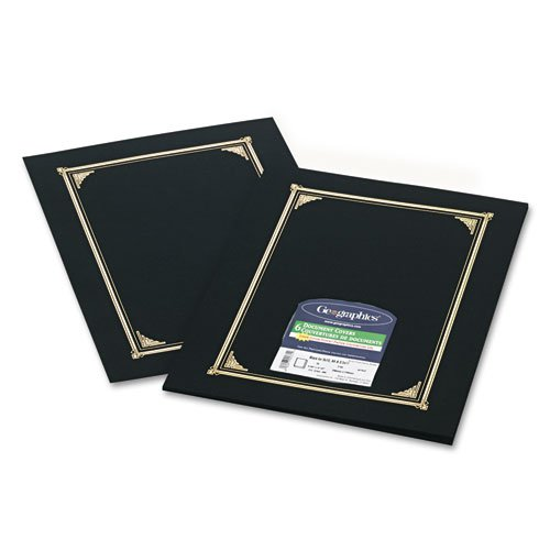 Document/Certificate Cover, 12-1/2''''x9-3/4'''', 6/PK, Black, Sold as 1 Package, 6 Each per Package