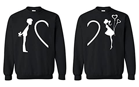 Shop4Ever Complete My Heart His & Hers Crewneck Couples Matching Sweatshirts-- Men XL Black// Women Large (Hers And His Crewneck)