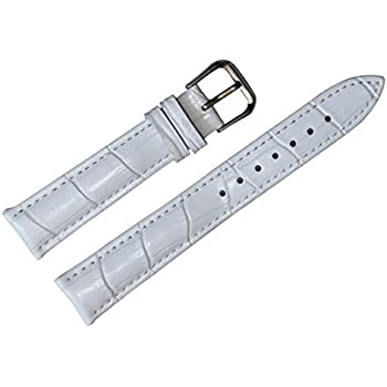 12mm Womens White Genuine Replacement Leather Watch Band Alligator Grain 6.89inch Length