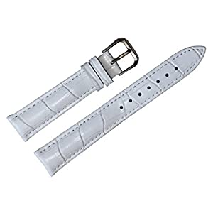 12mm Women's White Genuine Replacement Leather Watch Band Alligator Grain 6.89inch Length