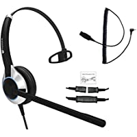 TruVoice Deluxe Single Ear Headset With Noise Canceling Microphone and a 2.5mm adapter for Polycom IP 320, IP330, IP321, IP331, Cisco SPA, AT&T, VTech, Panasonic and all phones with a 2.5mm Port