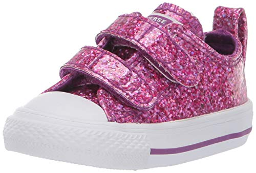 Converse Girls' Chuck Taylor All Star 2V Glitter Low Top Sneaker, icon Violet White, 6 M US Toddler