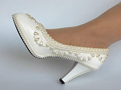 fd79aa0a61aa5 Amazon.com: Pearls white light ivory lace Wedding shoes Bridal heels ...