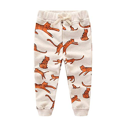 Cyhulu Kids Baby Boys Long Sleeve Cartoon Tiger Print Casual Legging Pants Trousers Outfits Set (Beige, 5-6 Years) ()